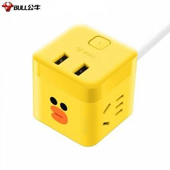 苏宁易购 BULL 公牛 GNV-UU212B 布朗熊小魔方USB插座 1.5米 69元包邮