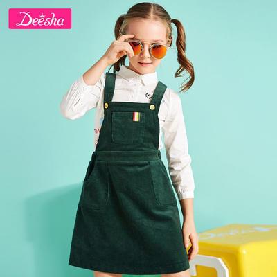 Deesha 笛莎 女童灯芯绒背带裙 *3件 141.1元包邮(合47.03元/件)