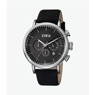 EDWIN【自然】系列 黑盘黑皮带男士表 396元包邮