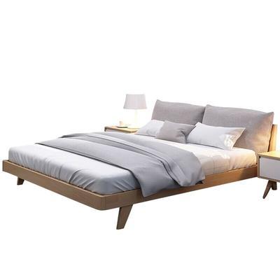 美天乐 北欧日式全实木床布艺软床 1399元包邮
