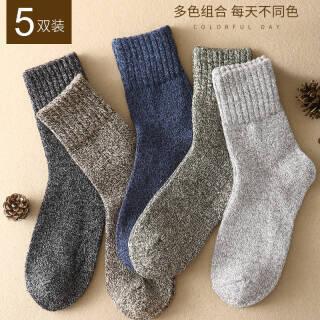 俞兆林羊毛袜子男士纯色时尚秋冬纯色加厚保暖中筒男长袜 混色5双 均码 25.