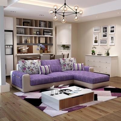 ¥1088 紫茉莉小户型沙发组合简约现代客厅布艺沙发可拆洗转角贵妃三人位