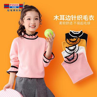 ¥50.7 铅笔俱乐部童装女童毛衣2018秋装新款儿童高领套头毛衫中大童女孩打