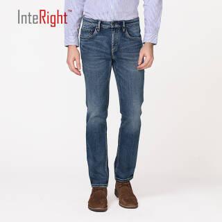 INTERIGHT牛仔裤男 经典欧式五袋款 合体修身牛仔裤中蓝色 30 170/76A 137.9元