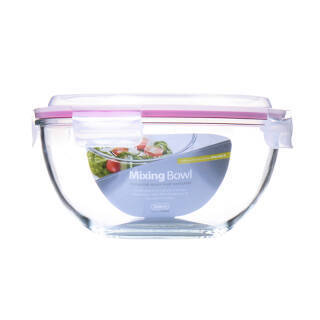 Glasslock 进口纳热钢化玻璃带盖水果沙拉碗大号家用圆形透明汤碗 2000ml带锁