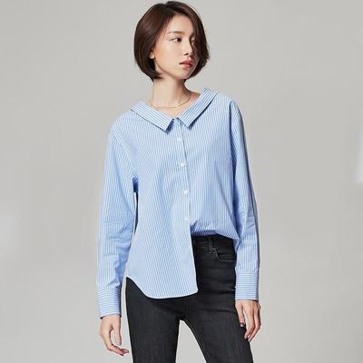 ¥154 网易严选 早春新款oversize条纹衬衫