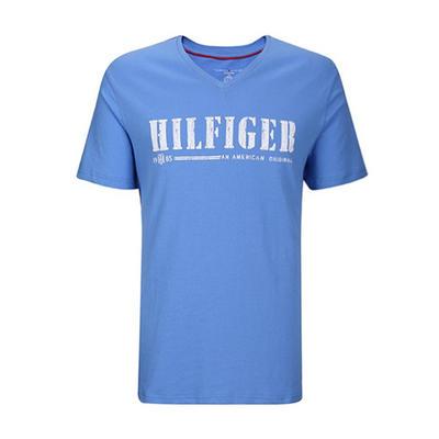 休闲舒适!TOMMY HILFIGER V领男士字母T恤短袖 限时好价139元包邮含税