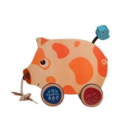 ¥45.9 B.Toys比乐木制小猪拖拉玩具手拉学步爬行玩具18个月+BX1393Z