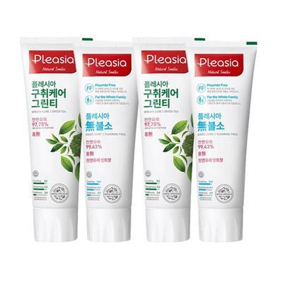 清洁清新!PLEASIA绿茶精制+不含氟牙膏100克*4只装 限时好价56元(需邮费)