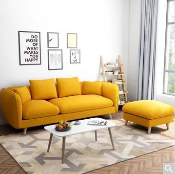 ¥1199 一米色彩布艺沙发北欧小户型三人位沙发组合沙发(香蕉黄小三人位+脚
