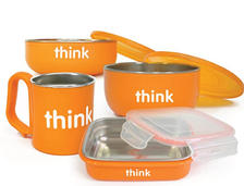 prime会员!ThinkBaby辛克宝贝 不锈钢儿童餐具4件套 橙色款 到手约183.35元