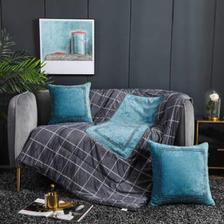 琳豆豆 抱枕被两用加厚四季雪尼尔绣花绒毯子汽车靠垫枕折叠被 卡兰 (3) 40X