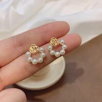 HU LI LAN 湖丽兰 C214 女士玫瑰珍珠耳钉 ¥15.9