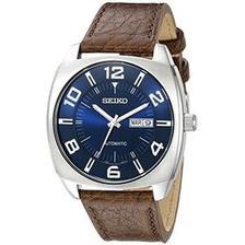 Seiko 精工 男士SNKN37不锈钢自动上发条手表,带有棕色皮革表带 783.9元