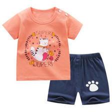 儿童短袖T恤纯棉 男女童夏款套装短袖短裤童装 K020-超级猫 120cm *3件 34.8元(
