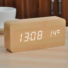 小米生态 家居同款复古木质LED电子 闹钟 温度计  券后66.9元