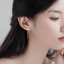 YYEU 气质韩国个性简约S925银耳线耳钉女学生森系花朵耳坠耳环耳饰品 925银