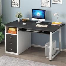 普派 电脑桌台式家用书桌书房办公学习桌带抽屉键盘架桌子 【钜惠】黑色12