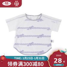京东PLUS会员:良良 婴儿食饭衣宝宝围嘴初航短袖蓝白新生儿棉麻罩衣 蓝白