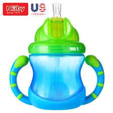 京东PLUS会员:Nuby 努比 儿童重力球吸管学饮杯 蓝色 *5件 105元(合21元/件)