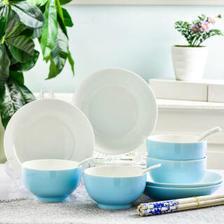 句途 16件日式蓝色梦想蓝釉碗盘套装  券后39.9元