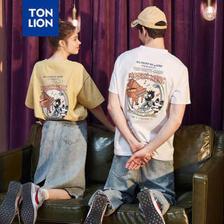 TONLION 唐狮 TonLion)情侣装夏装短袖T恤男半袖ins衣服女宽松夏天 625230022415B