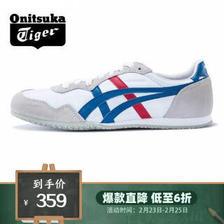 亚瑟士Onitsuka Tiger/鬼塚虎运动休闲鞋男女轻量经典SERRANO D109L-0142 白色/蓝色 3