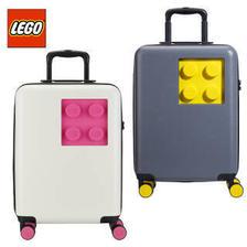 乐高(LEGO) 拉杆箱登机箱万向轮旅行行李TSA密码硬箱20英寸卡通积木 粉米